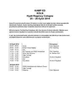 KAMP ED KOLN Hyatt Regency Cologne 25 – 26 Eylül 2014