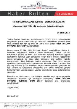 T SK ŞGÜCÜ P YASASI BÜLTEN – EK M 2014 (SAYI:30