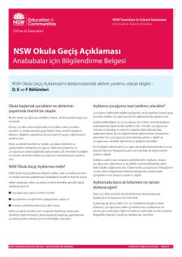 NSW Okula Geçiş Açıklaması