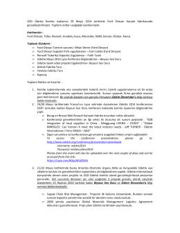 OSD Odette Komite toplantısı 29 Mayıs 2014 tarihinde Ford Otosan