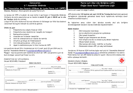 Convocation AG du 24 juin 2014