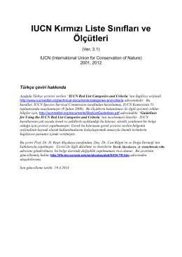 IUCN Kırmızı Liste Tehdit Sınıfları ve Ölçütleri