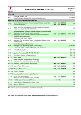 muayene hizmetleri ücret listesi 2015