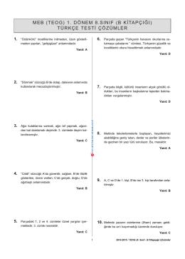 Türkçe - B Kitapçığı Çözümleri