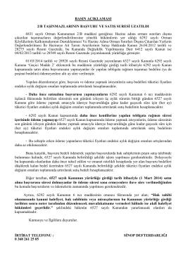 Milli Emlak Müdürlüğünden 2/B Duyurusu Mayıs 2014