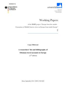 """Working Papers - BMBF-Projekt """"Europa von außen gesehen"""""""