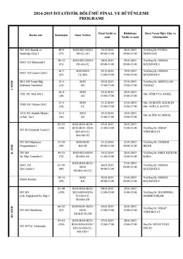 2014-2015 istatistik bölümü final ve bütünleme programı