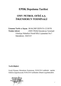 EPDK Depolama Tarifesi OMV PETROL OFİSİ A.Ş. İSKENDERUN