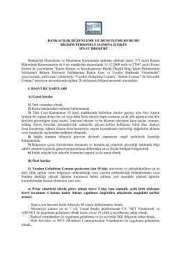 sınav broşürü - Bankacılık Düzenleme ve Denetleme Kurumu