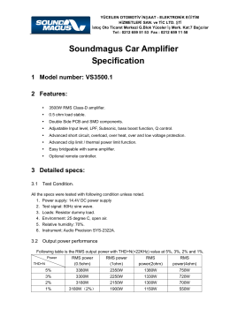 Soundmagus Car Amplifier Specification 1 Model number: VS3500