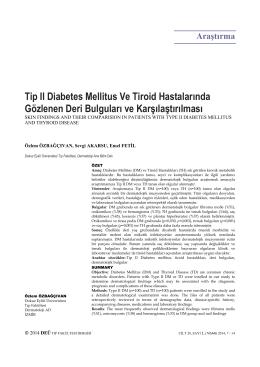 Tip II Diabetes Mellitus Ve Tiroid Hastalarında Gözlenen Deri