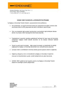 OHSAS 18001 İŞ SAĞLIĞI ve GÜVENLİĞİ