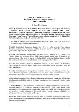 HAK-İŞ Konfederasyonu Genişletilmiş Başkanlar Kurulu Sonuç