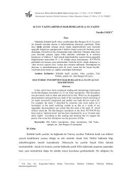 ALTAY YAZITLARINDAN BAR-BURGAZI II (A 21) YAZITI
