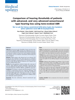 Comparison of hearing thresholds of patients with advanced, and