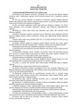 T.C. MERAM BELEDİYESİ Hukuk İşleri Müdürlüğü 1) HUKUK
