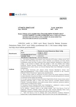 İthalatta Korunma Önlemlerine İlişkin 2014/7