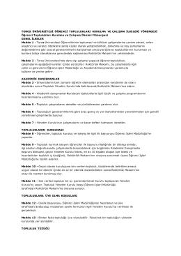 Toros Üniversitesi Öğrenci Toplulukları Kurulma ve Çalışma İlkeleri