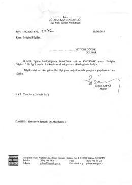 İlçe Milli Eğitim Müdürlüğü Yazısı - Gülnar İlçe Milli Eğitim Müdürlüğü