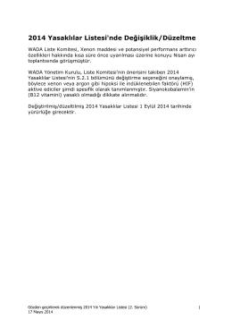 2014 Kullanımı Yasak Maddeler Listesi