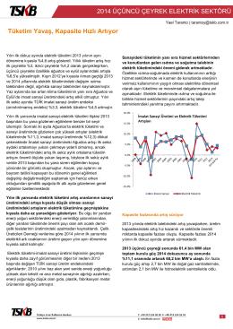 Elektrik Sektörü Üçüncü Çeyrek Değerlendirme Notu