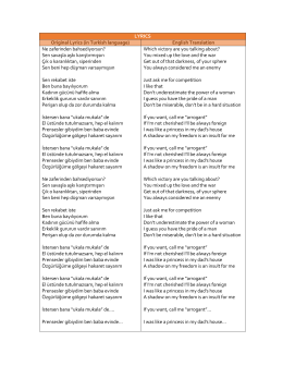 LYRICS Original Lyrics (in Turkish language)