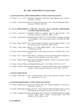 Dr. Altay Tayfun ÖZCAN yayın Listesi