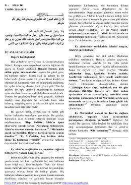 Regaib 25.04.2014 - Bilecik İl Müftülüğü