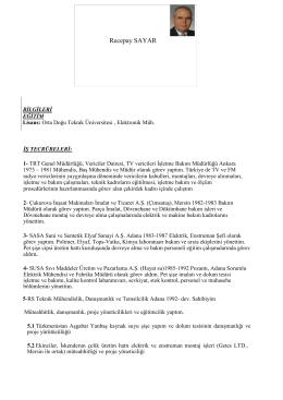 Recepay SAYAR - Adana ÜSAM Mentör Projesi Takvim