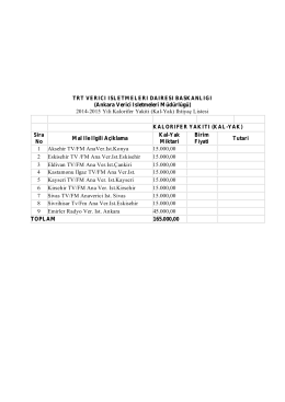 kal-yak ihtiyac listesi