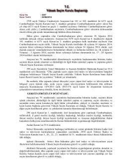 22.06.2014 Tarihli ve 3057 Nolu YSK Kararı