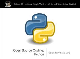 Python - Bilkent Özgür Yazılım ve İnternet Teknolojileri Kulübü
