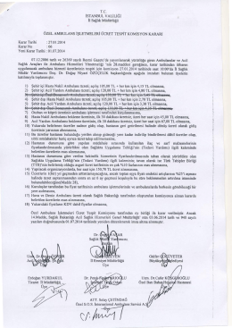 2014 Yılı Ambulans Ücret Tespit Komisyon Kararı