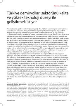 Türkiye demiryolları sektörünü kalite ve yüksek - Ephy