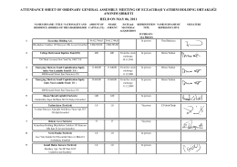 ATTENDANCE SHEET OF ORDINARY GENERAL