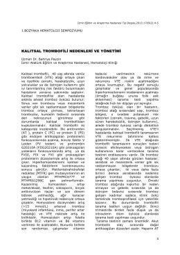 kalıtsal trombofili nedenleri ve yönetimi