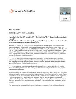 """Hanwha SolarOne PV modülü PV+ Test 2.0 için """"İyi"""
