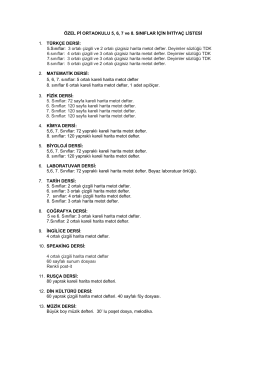 ÖZEL Pİ ORTAOKULU 5, 6, 7 ve 8. SINIFLAR İÇİN İHTİYAÇ LİSTESİ
