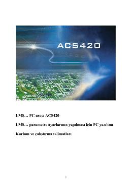 LMS… PC aracı ACS420 LMS… parametre ayarlarının