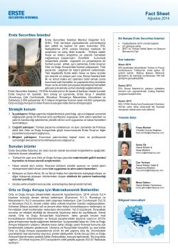 Factsheet - Erste Securities İstanbul