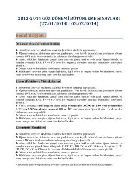 2013-2014 güz dönemi bütünleme sınavları