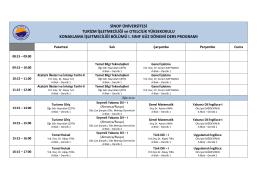 I. Sınıf Güz Dönemi Ders Programı