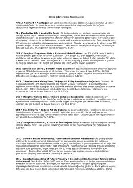 Sütçü Sığır Irkları Terminolojisi NM$ / Net Merit / Net Değer: Süt
