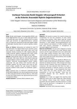 Varikosel Tanısında Renkli Doppler Ultrasonografi Kriterleri ve Bu