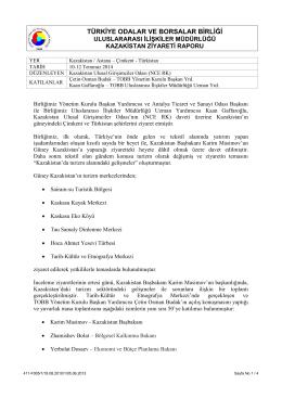 Güney Kazaksitan Ziyareti Raporu