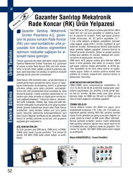 Gazanfer Sanlıtop Mekatronik Rade Koncar (RK) Ürün Yelpazesi