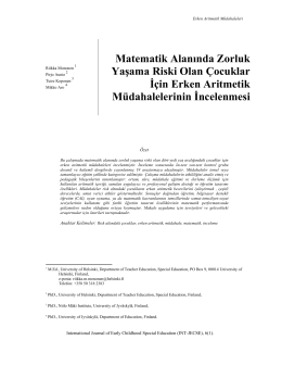 Türkçe Özet - International Journal of Early Childhood Special