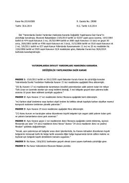 Karar No.2014/6588 R. Gazete No. 29080 Tarihi: 30.6.2014 R.G.