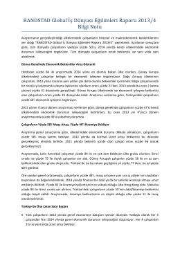 RANDSTAD Global İ ş Dü nyası Eğ ilimleri Raporü 2013/4