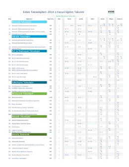 Entek Teknolojileri-2014 1.Ya nolojileri-2014 1.Yarıyıl E leri